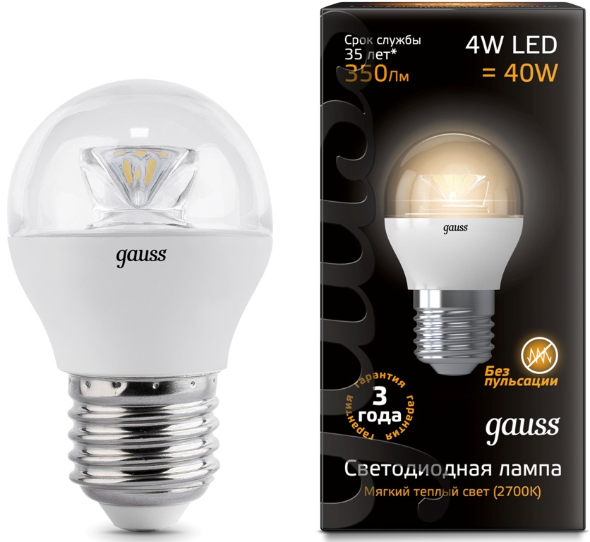 Лампа Gauss LED Globe Crystal Clear 4W E27 2700К