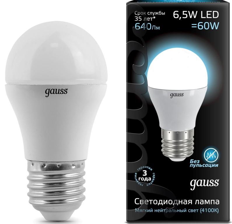 Лампа Gauss LED Globe 6.5W E27 4100K