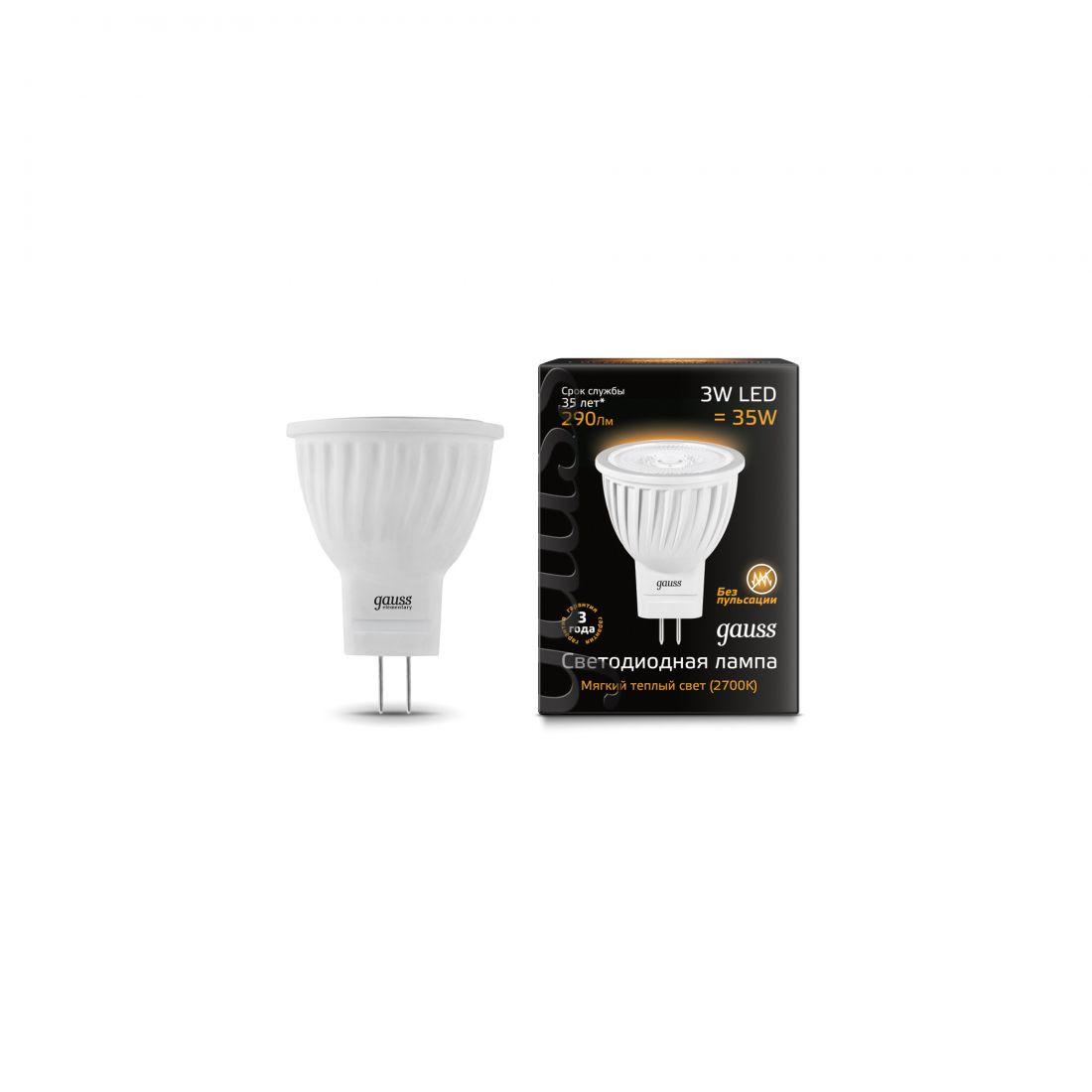Лампа Gauss LED 3W MR11 GU4 220-240V 2700K
