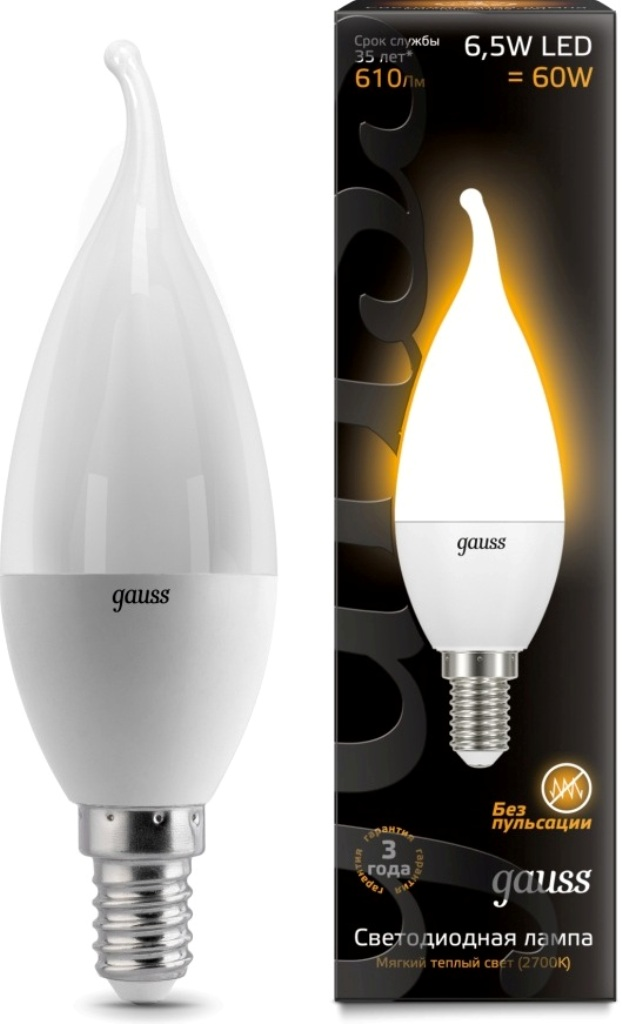 Лампа Gauss LED Candle Tailed 6,5W E14 2700K