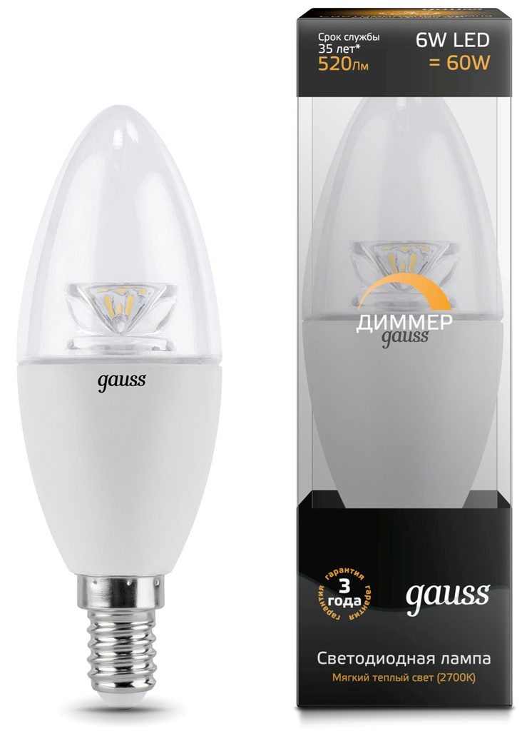 Лампа Gauss LED Candle-dim E14 6W 2700K