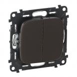 Лиц. панель для двухкл. выкл. Черная сталь Legrand Valena ALLURE.