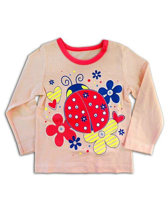 Блуза для девочки Божья коровка персиковая