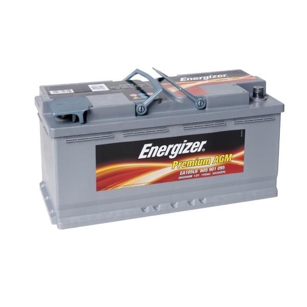 Автомобильный аккумулятор АКБ Energizer (Энерджайзер) AGM EA105L6 605 901 095 105Ач о.п.