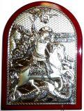 Инкрустированная гранатами серебряная икона Святого Георгия Победоносца (14.5*20см., «Галерея благолепия», Россия) в подарочной коробке