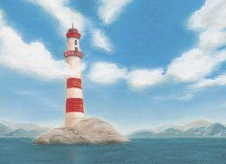 Почтовая открытка Маяк в облаках