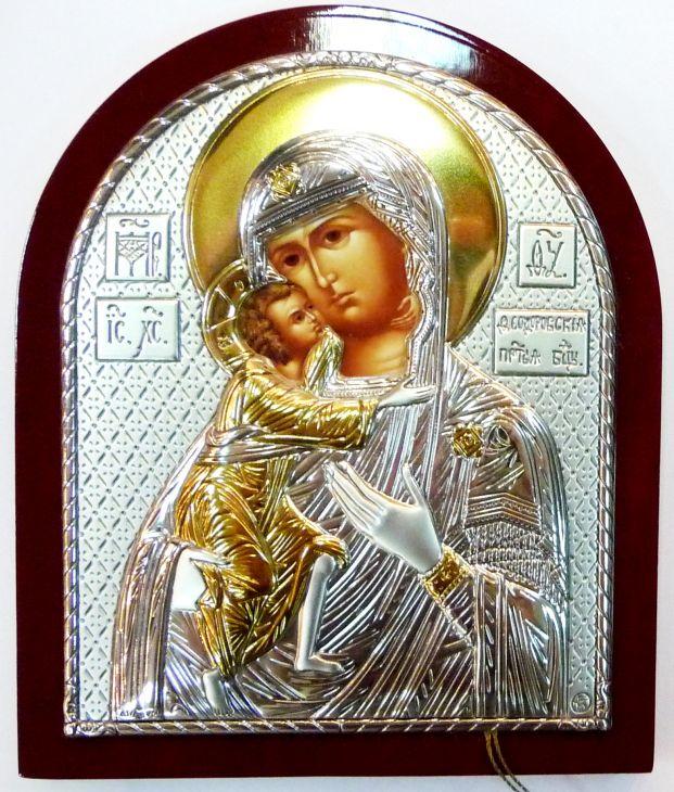 Серебряная с золочением икона Богородицы «Федоровской» (9*11см., Россия)