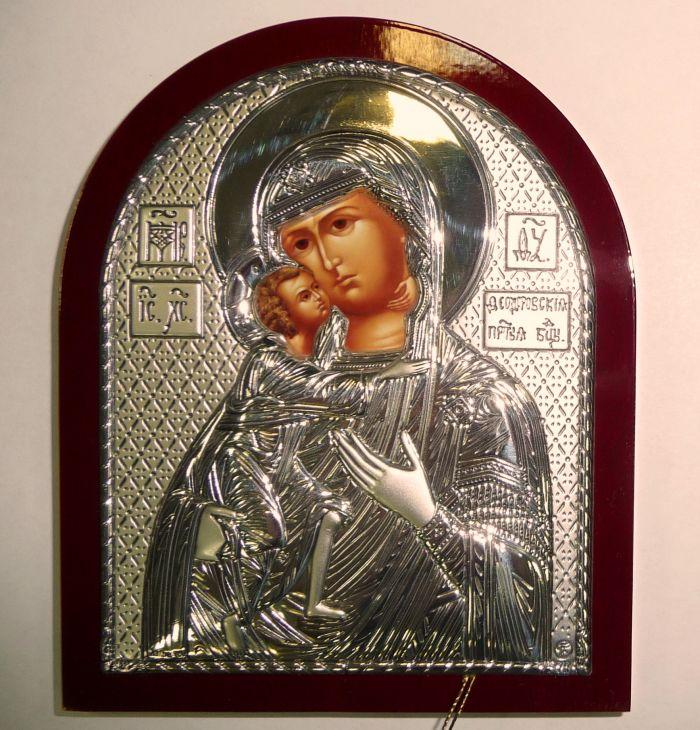 Серебряная икона Богородицы «Федоровской» (9*11см., Россия)