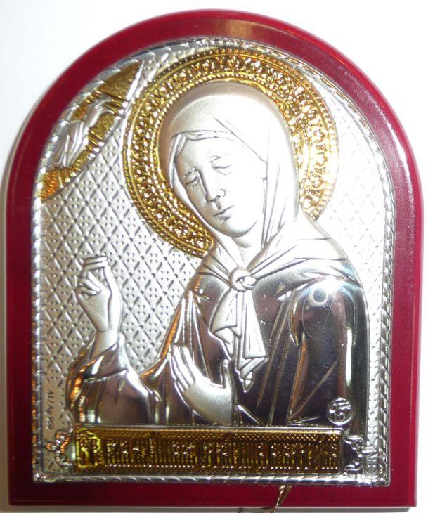 Серебряная с золочением икона Святой Блаженной Матроны Московской (7*8.5см., Россия) в дорожном футляре