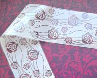 Фольга для дизайна ногтей, литья (переводная). Цвет: белые розы (Размер: 4см на 1 метр)