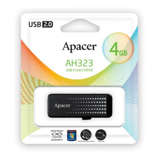 USB накопитель Apacer 4GB AH323 black