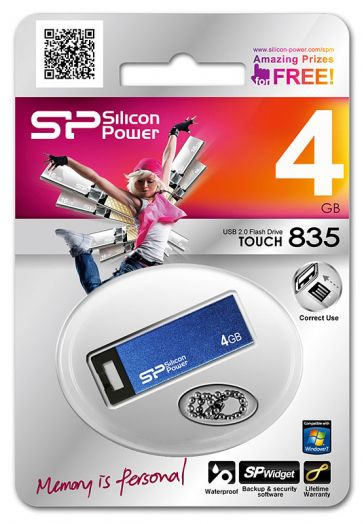 USB накопитель Silicon Power 4GB Touch 835 Blue