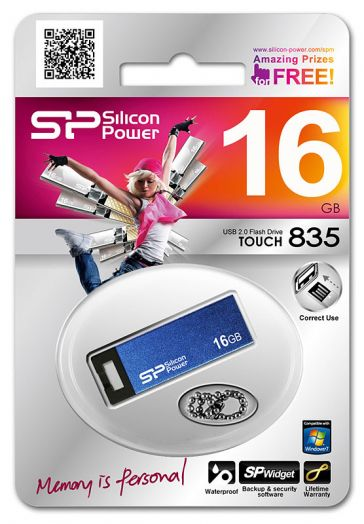 USB накопитель Silicon Power 16GB Touch 835 Blue
