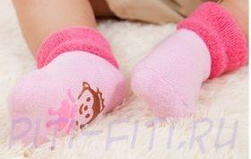 Носочки махровые с тормозками-мордашками (розовые) 10 см