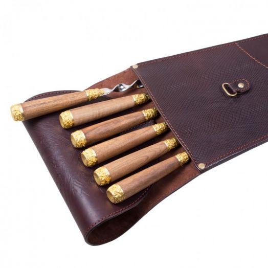 Шампура подарочные 6шт. вколчане изнатуральной кожи коричневого цвета