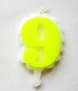 Свеча цифра 9 (желтая)