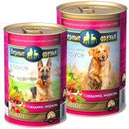 Верные друзья Для взрослых собак всех пород Говядина, морковь (850 г)