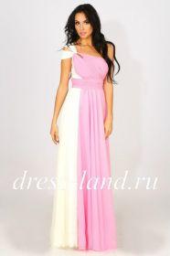 Розовое платье в пол с бретелью на одно плечо
