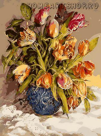 """Раскраска по номерам """"Букет тюльпанов"""""""