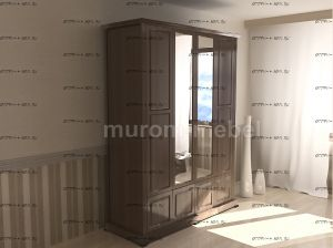 Шкаф 4-дверный с нижней антресолью и зеркалом Кардинал 180х55х224