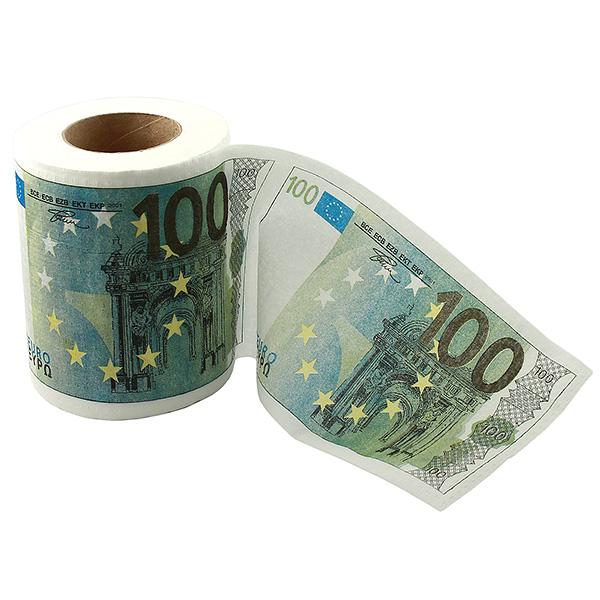 Туалетная бумага 100 евро, 500 евро