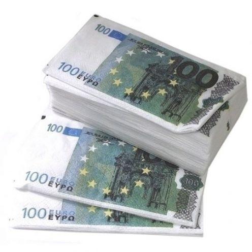 Салфетки Пачка 100 евро 2-х слойные