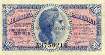Банкнота Испания 50 центимос 1937 год