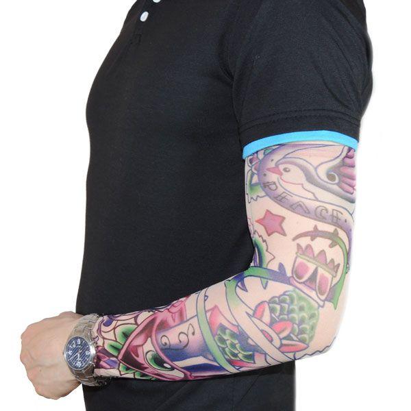 Тату рукав с розовым рисунком