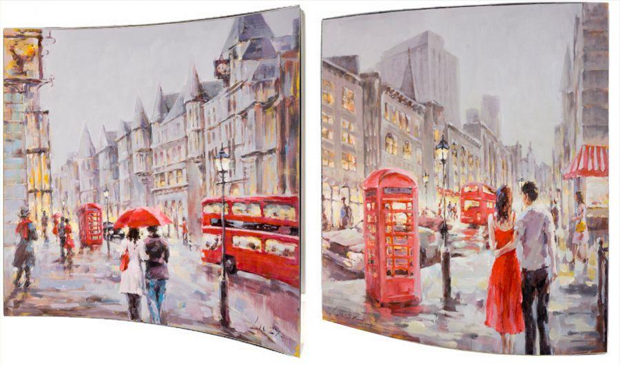 "Картина ""Улицы Лондона"" (пара), 38x38 см"