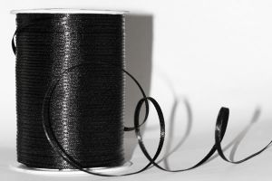 Атласная лента, ширина 3 мм, цвет: черный, длина: 91,4 метра (+-0,4м)