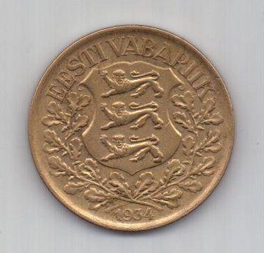 1 крона 1934 года AUNC Эстония