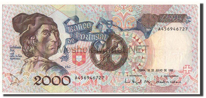 Банкнота Португалия 2000 эскудо 1992 год
