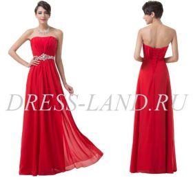Красное вечернее платье на шнуровке