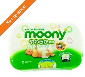 Влажные салфетки Moony (пластиковый бокс) 80 шт. зеленые