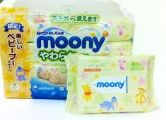 Влажные салфетки Moony (сменный блок) 80 шт. зеленые