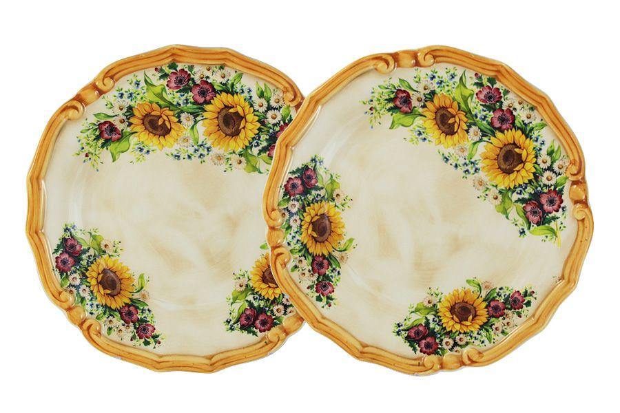 """Набор из 2-х десертных тарелок """"Подсолнухи Италии"""", 20.5 см"""