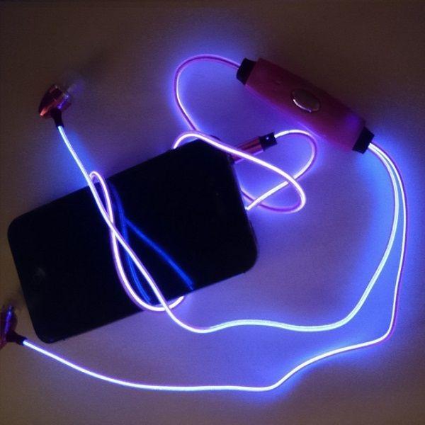 Светящиеся вакуумные металлические наушники Glow с EL свечением (гильза)