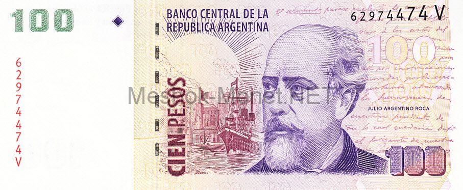 Банкнота Аргентина 100 песо 2012 год