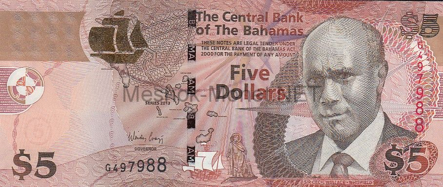 Банкнота Багамские острова 5 долларов 2013 год