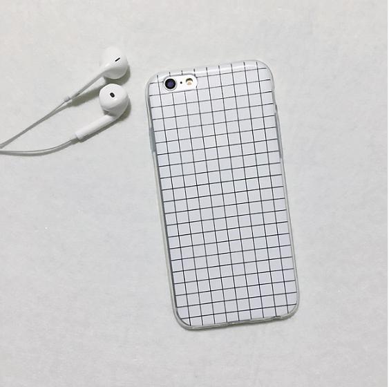 Силиконовый чехол для iphone 6/6s в клеточку (белый)