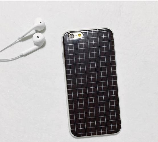 Силиконовый чехол для iphone 6/6s в клеточку (черный)
