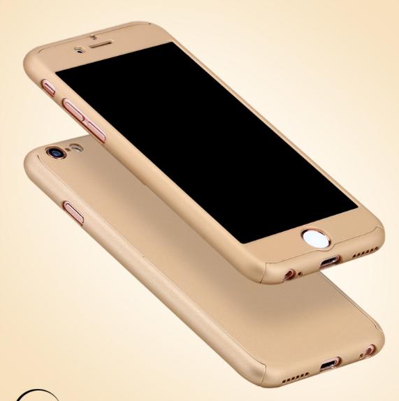 Чехол Paky 360 градусов защиты для iPhone 7/8 + стекло на экран (золотой)