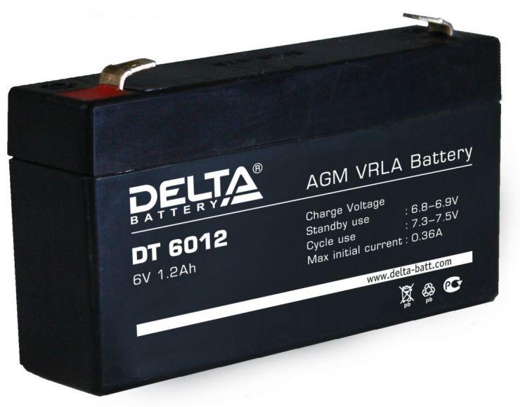 Аккумулятор свинцово-кислотный АКБ DELTA (Дельта) DT 6012 6 Вольт 1.2 Ач