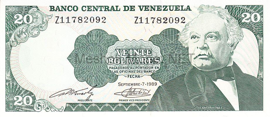 Банкнота Венесуэла 20 боливаров 1989 год