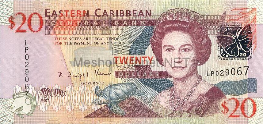Банкнота Восточные Карибы 20 долларов 2008 год
