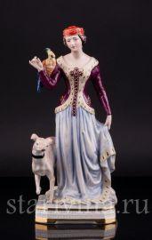 Дама в средневековом платье с левреткой, Friedrich Wessel, Германия, 1949-64 гг
