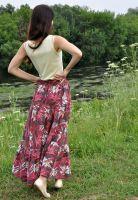 Длинная вишневая юбка в пол с лилиями, купить в СПб в интернет-магазине