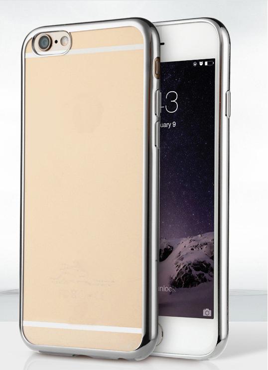 Силиконовый чехол для iphone 6/6s с хромовым ободком