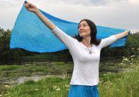 Женский шарф из натурального шёлка, голубой, Москва