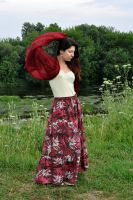 шарф вишнёвого цвета из натурального шёлка москва